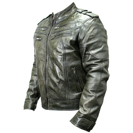 New Men's Genuine Sheep Skin Leather Fashion Jacket Green 4 Zipped chest Pocket