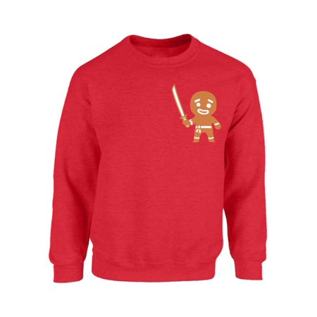Mezee Christmas Gingerbread Man Ninja Pocket Sweatshirt Funny Christmas Pocket Sweaters Xmas Gingerbread Ugly Christmas Sweater Unisex Holiday Gifts