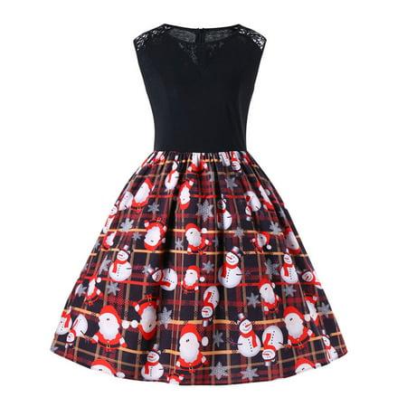 Mosunx Women Merry Christmas Sleeveless Santa Snowman Claus Print Party Swing Dress