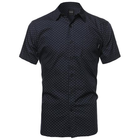 - Men's Small Diamond Dot Patterned Button Down Short Sleeves Shirt