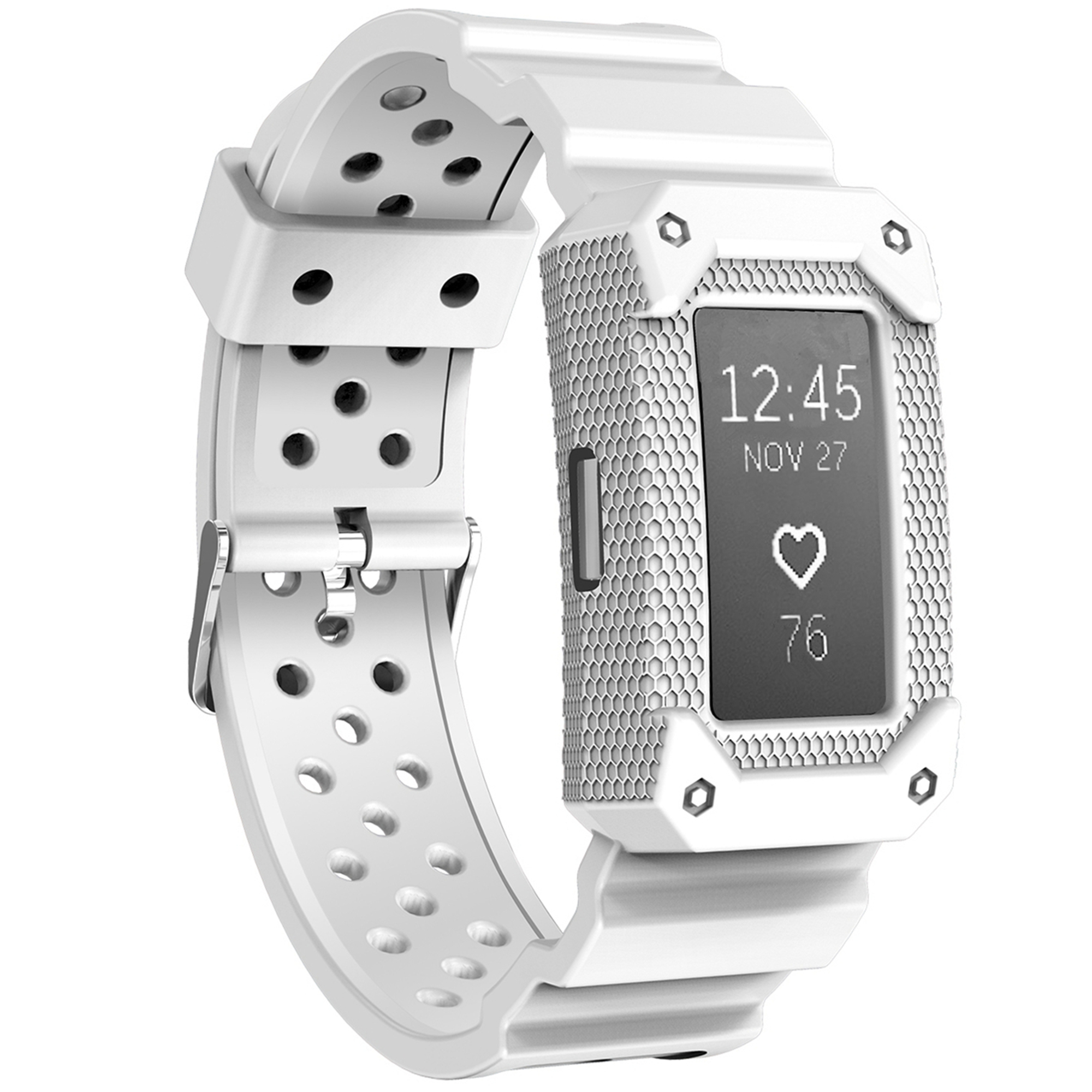 Moretek For Charge 2 Band, Silicone Replacement Sport Strap Wristband for Fitbit Charge 2 (White)