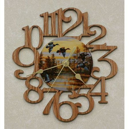 Ducks ~ Small Decorative Oak Photo Wall Clock ~ Great Gift For The Hunting Enthusiast! Clock Rustic Oak Case