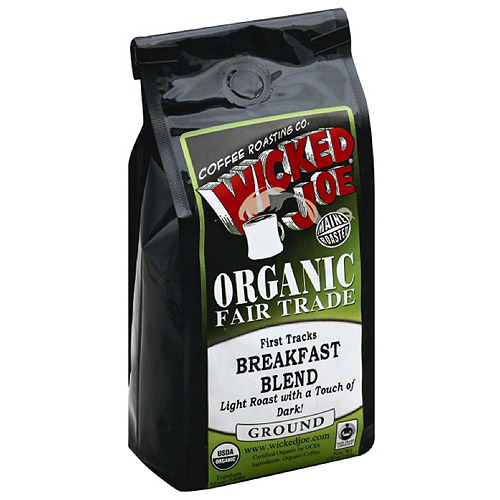 Wicked Joe Organic Fair Trade First Tracks Breakfast Blend Ground Coffee, 12 oz (Pack of 6)