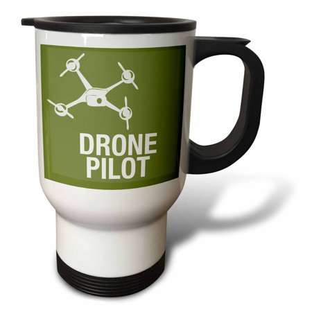 3dRose Big Green Drone with UAV Pilot, Travel Mug, 14oz, Sta