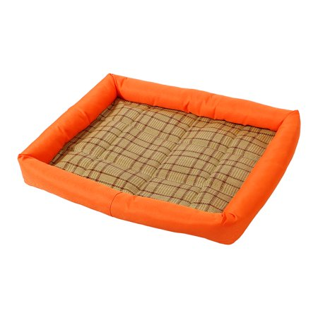 Unique Bargains Summer Cool Heat Resistant Bamboo Dog Cushion Pet Cat Sleeping Bed Mat L Orange