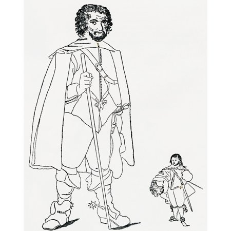Walter Parsons Aka The Staffordshire Giant 7 Feet 6 Inches Left Alive During The Reign Of King James I And A Bodyguard To The King With Sir Jeffrey Hudson Right 1619 Stretched Canvas - Ken Welsh