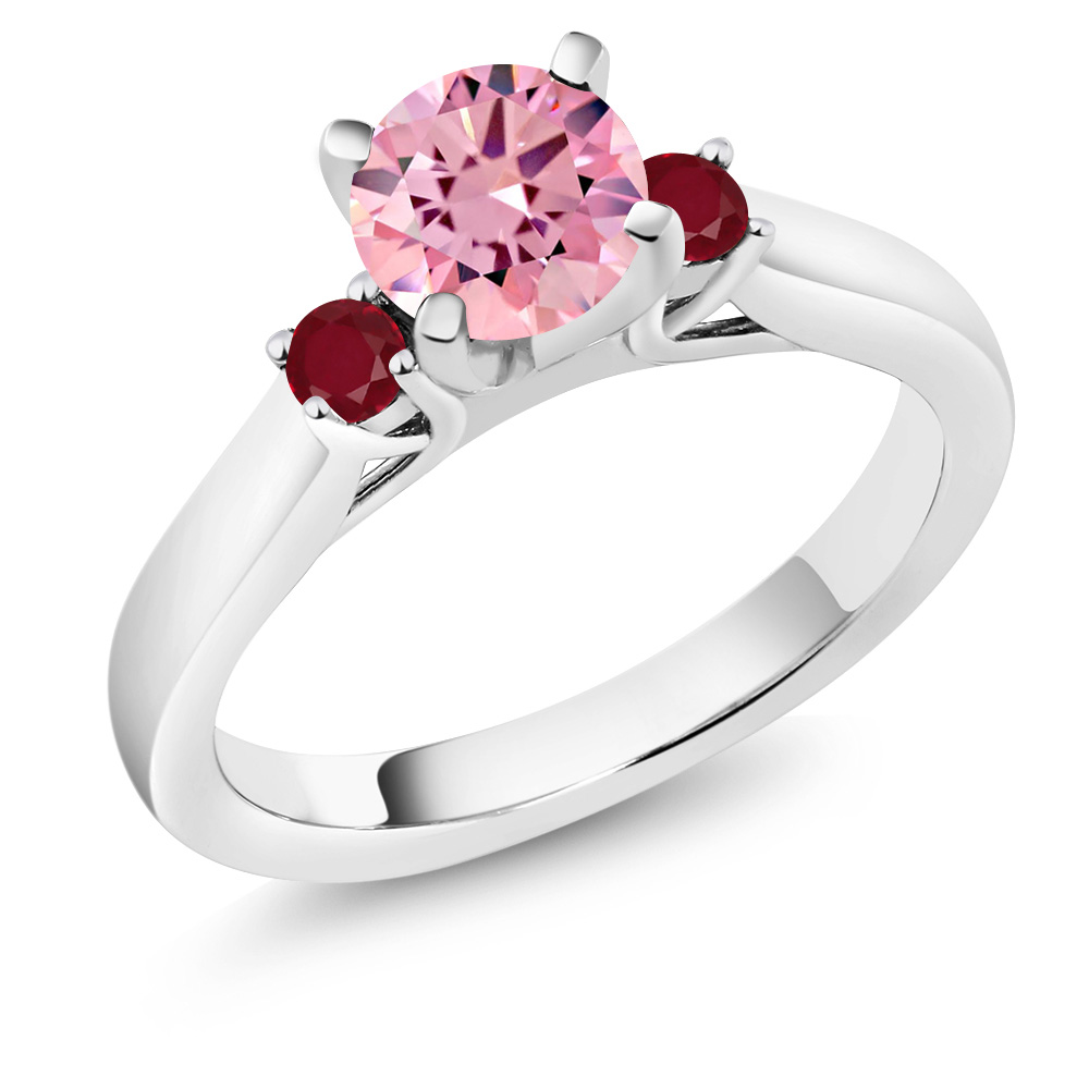1.78 Ct Round Pink Zirconia Red Ruby 18K White Gold 3-Stone Ring by