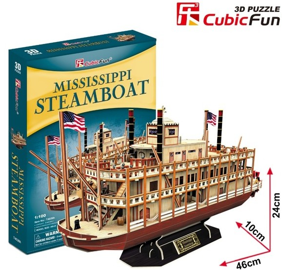 Mississippi Paddle Wheel Steamboat 3D Foam Puzzle (142pcs) by