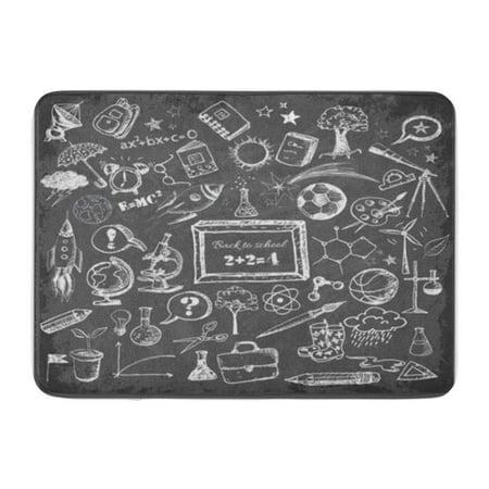 KDAGR Chalkboard Back to School Big Doodles on Blackboard Classroom Doormat Floor Rug Bath Mat 30x18 inch (Classroom Door)