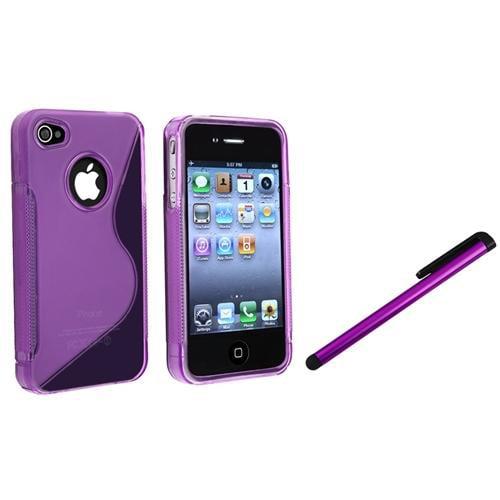 INSTEN For Apple iPhone 4 / 4S TPU Case, Clear Dark Purple S Shape+Clip Stylus