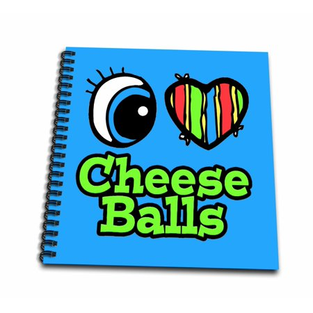 3dRose Bright Eye Heart I Love Cheese Balls - Mini Notepad, 4 by 4-inch (Halloween Cheese Ball Eye)