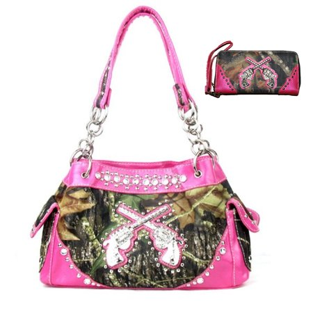 Texas West Western Handbag Camouflage Gun Pistol Pocket Camo Rhinestone Purse With Matching Wallet ()