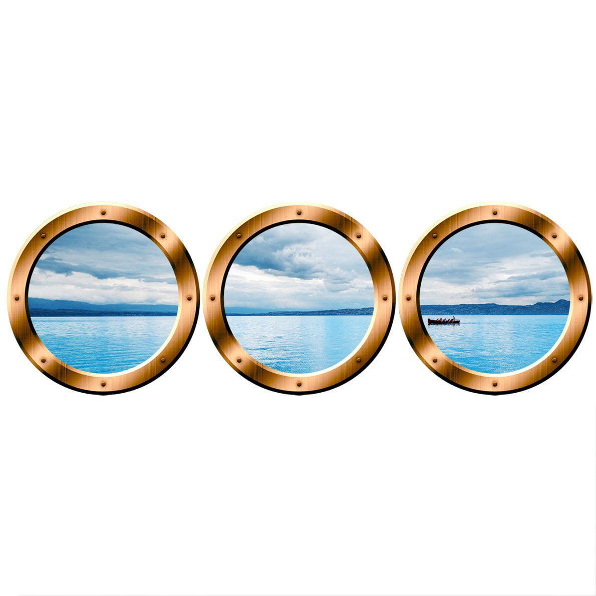 """VWAQ PORTHOLE WALL DECAL, Ocean View Stickers - VWAQ-SPW2 (20"""" Variation, Bronze)"""