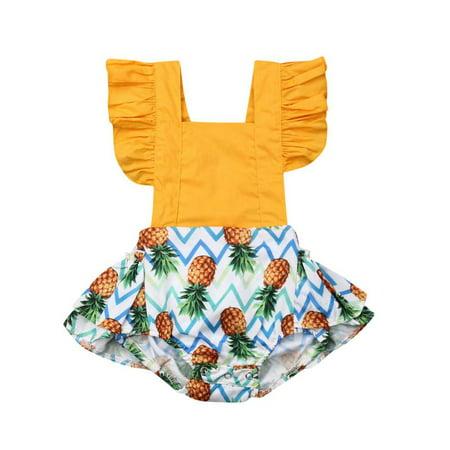 Fashion Infant Baby Girl Ruffle Sleeve Backless Cake Smash Boho Romper Pineapple Jumpsuit - Cake Smash Girl