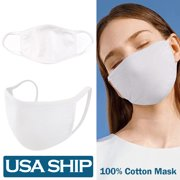 5Pcs Unisex Face Mask Protect Reusable 100% Cotton Comfy Washable Made In USA White