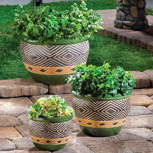 Zingz & Thingz Set of 3 Various Size Jade Ceramic Flower Planters