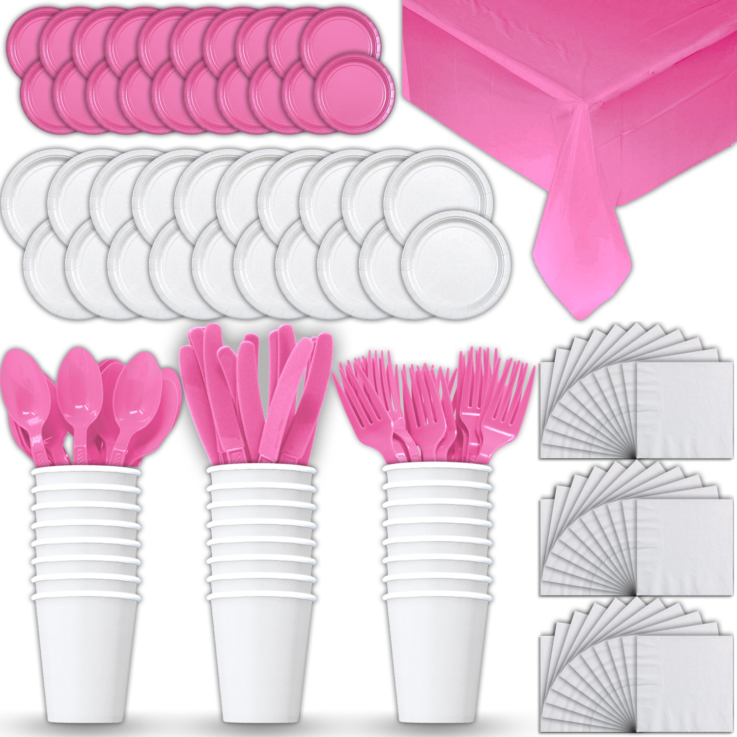 Paper Tableware Set for 24 - White & Hot Pink - Dinner and Dessert Plates, Cups, Napkins, Cutlery (Spoons, Forks, Knives), and Tablecloths - Full Two-Tone Party Supplies Pack