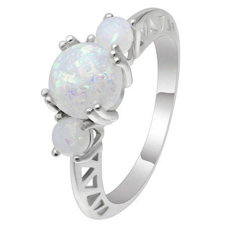 White Fire Opal Wide Band - Ginger Lyne Collection Fleur Round 3 Stone Lab Created Fire Opal Ring