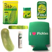 Deluxe Pickle Lovers Gift Pack (7pc Set) - Pickle Bandages, Lip Balm, Mints, Stress Toy, I Love Pickles Can Cooler, I Heart Pickles Wristband & Dill Pickle Salt