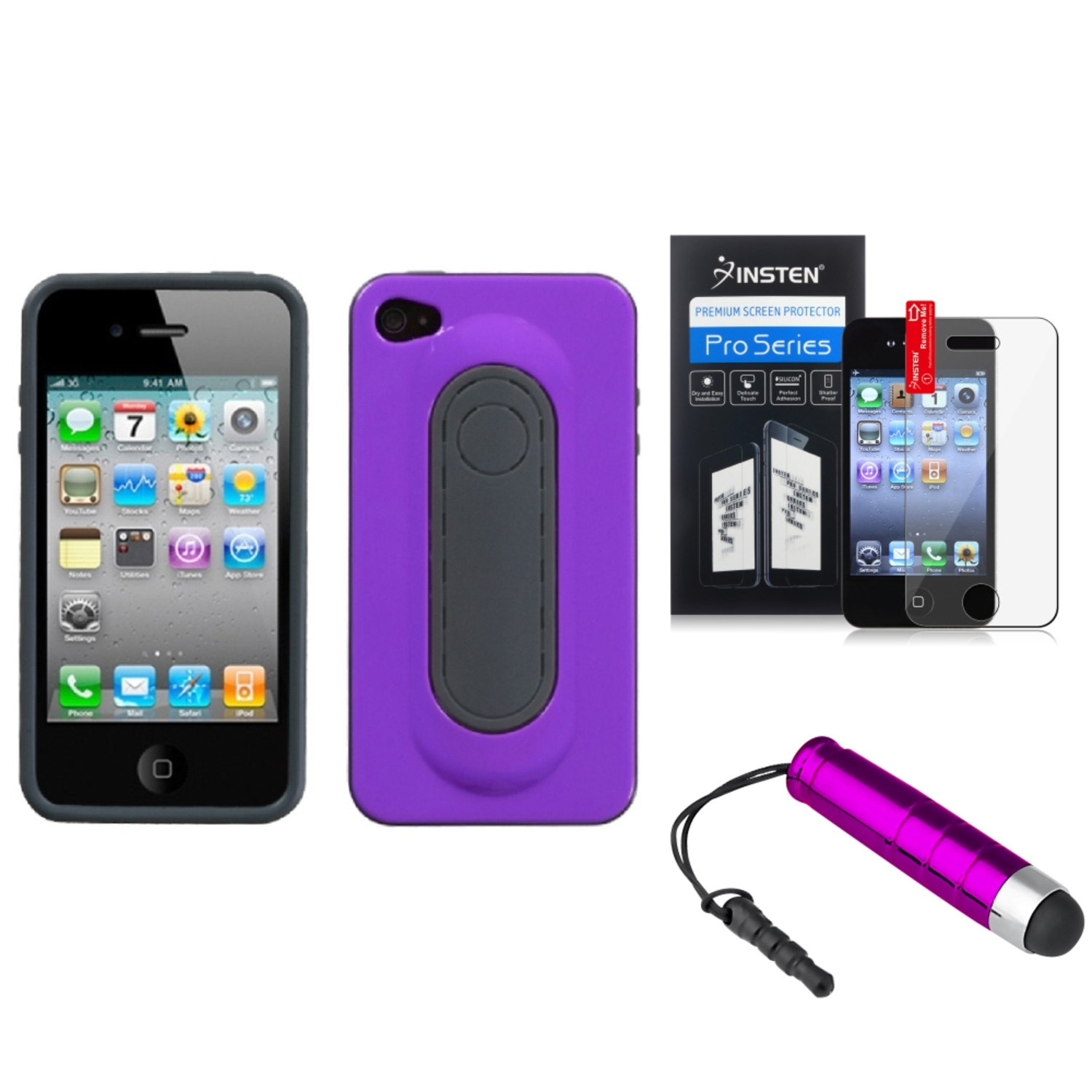 Insten Purple Snap Tail Stand Case Cover+Protector+Mini Pen For APPLE iPhone 4S/4