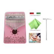 Muslady 17-Key Full Solid Veneer Wood Kalimbas Thumb Piano Finger Percussion with Tuning Hammer Cleaning Cloth