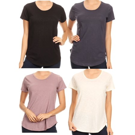 Women's 4 Pack Short Sleeve Round Neck Casual Loose Cotton T Shirt Top Blouse S (5401743)