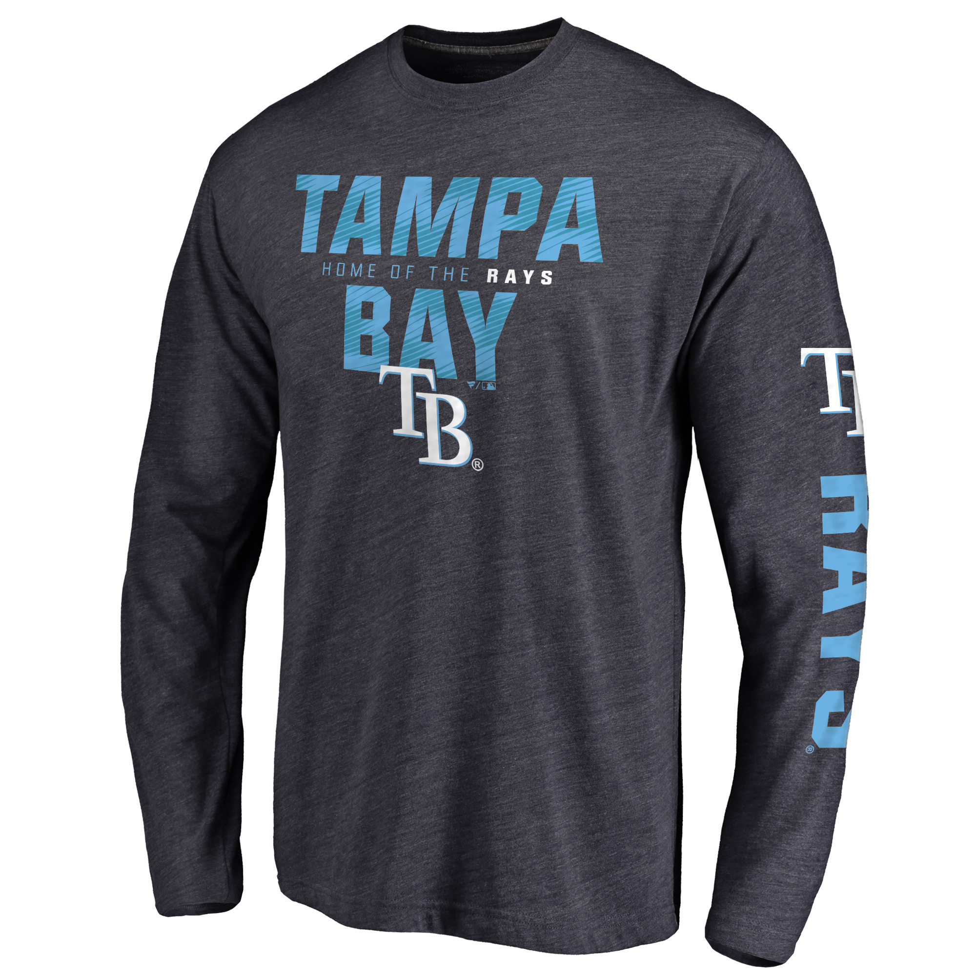 Tampa Bay Rays Loyalty Clean Color Logo Long Sleeve Tri-Blend T-Shirt - Navy