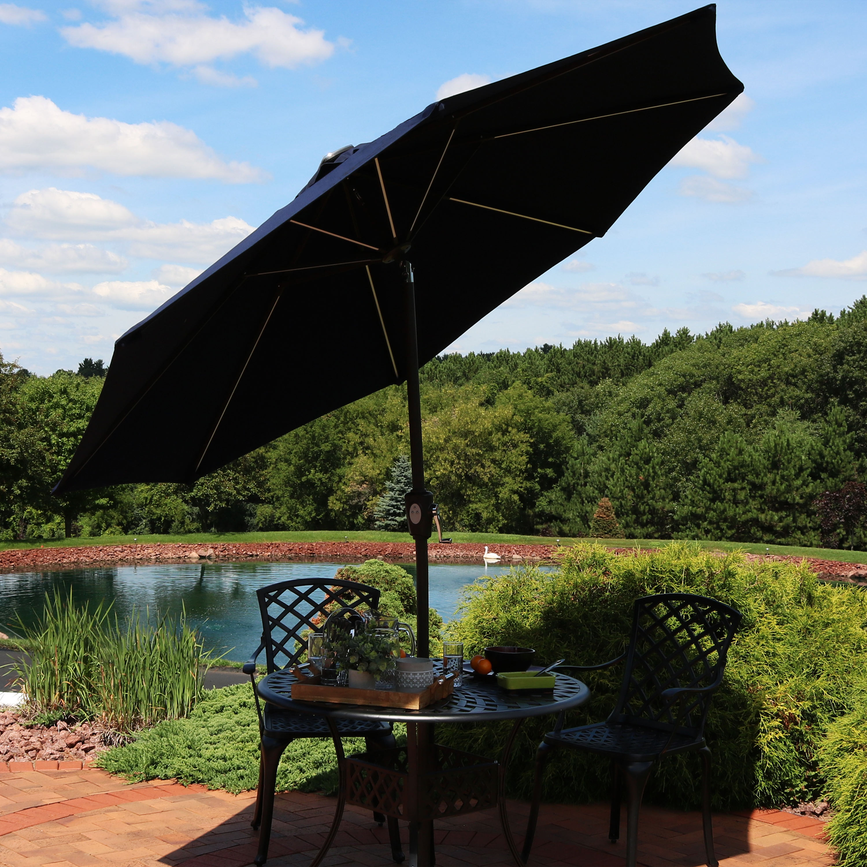Sunnydaze Solar Sunbrella Patio Umbrella w/ Push-Button Tilt and Crank, 9-Foot Outdoor Market Umbrella with LED Light Bars and Rust Resistant Aluminum, Navy Blue