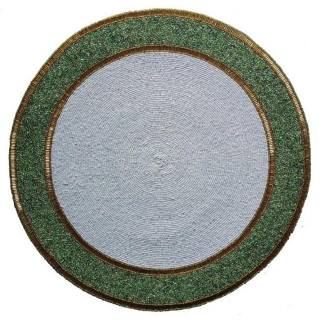 Kianni Decor PM - 35 Handcrafted White Center with Green and Gold Border Glassbeaded Placemat
