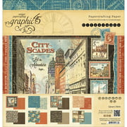 """Graphic 45 Double-Sided Paper Pad 12""""X12"""" 24/Pkg-Cityscapes, 8 Designs/3 Each"""