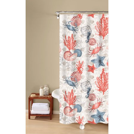 Coastal Bath (Coastal Dreams 100% Cotton Shower Curtain, Textured Fabric Print, Orange, Inspired Surroundings by 1888 Mills)