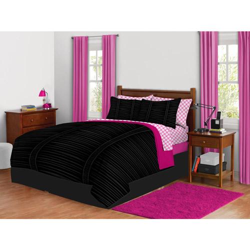 Latitude Vertical Ruched Bed in a Bag Bedding Set, Black