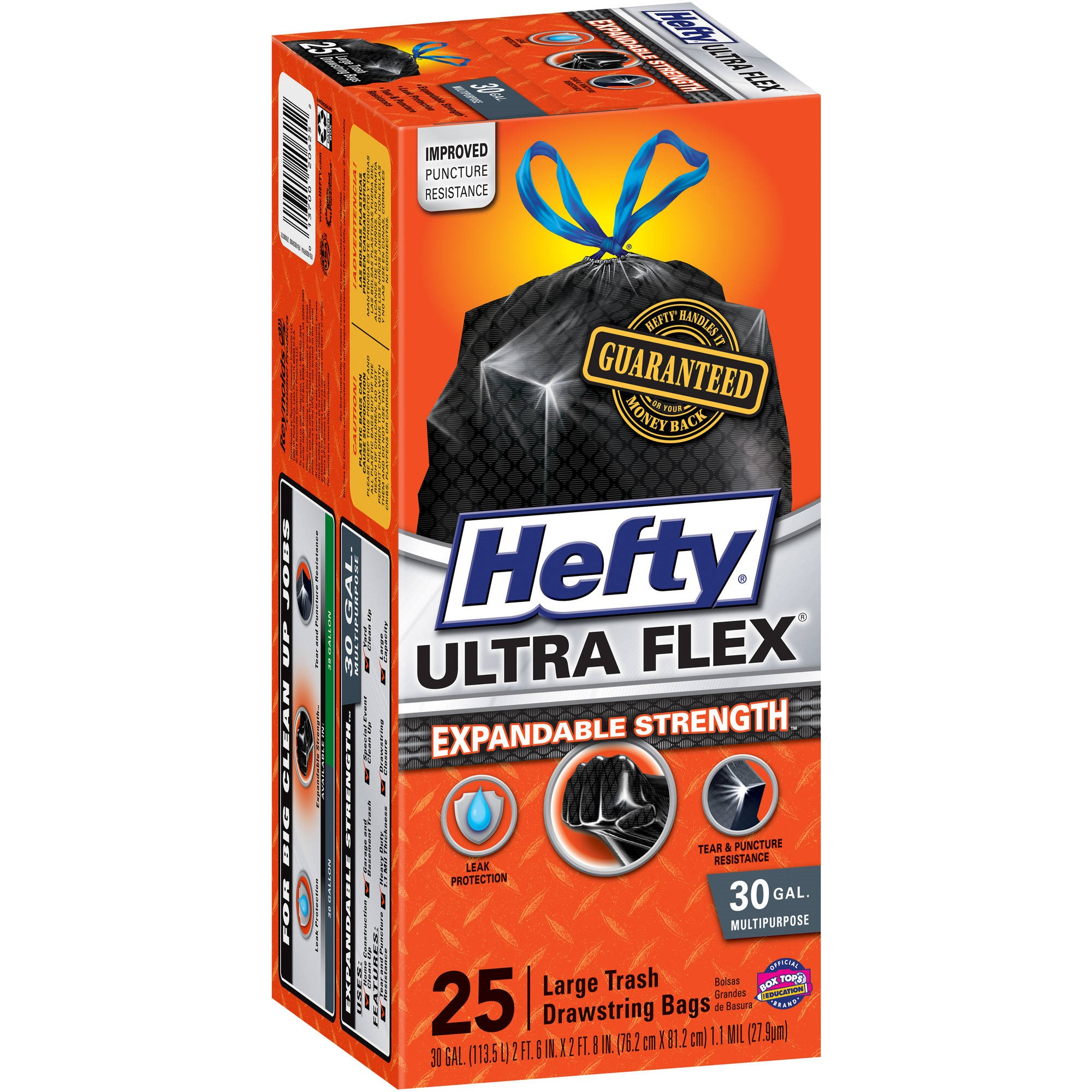 Hefty Expandable Strength Large Drawstring Trash Bags, 30 Gallon, 25 Count