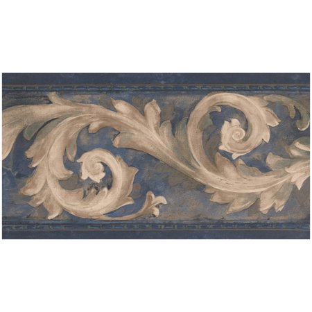 Prepasted Wallpaper Border - Beige Damask Vine Dark Blue Wall Border Retro Design, Roll 15 ft. x 7 in. - Halloween Windows 7 Wallpaper