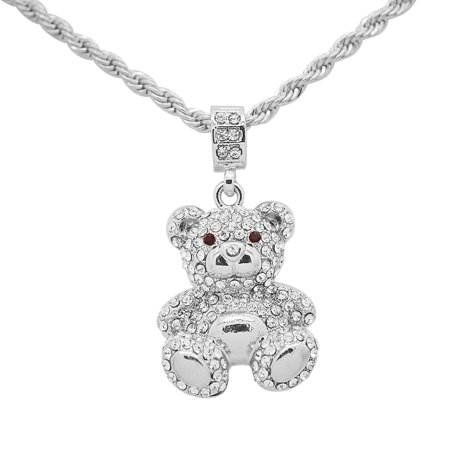 """14K White Gold Plated Hip Hop Bling Teddy Bear Pendant with 24"""" Rope Chain"""