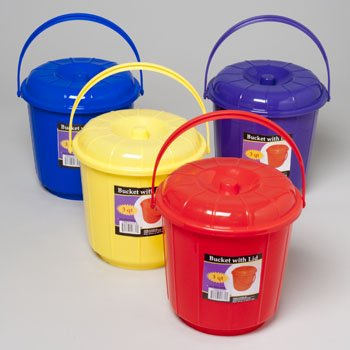 BUCKET WITH LID & HANDLE 3 QT 7.25D X 7.5H 4 COLORS IN PDQ, Case Pack of