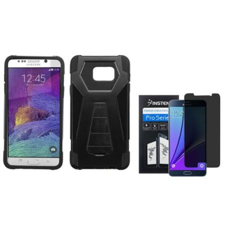 Insten Dual Layer Case w/stand For Samsung Galaxy Note 5 - Black (+ Privacy Filter Screen Protector)