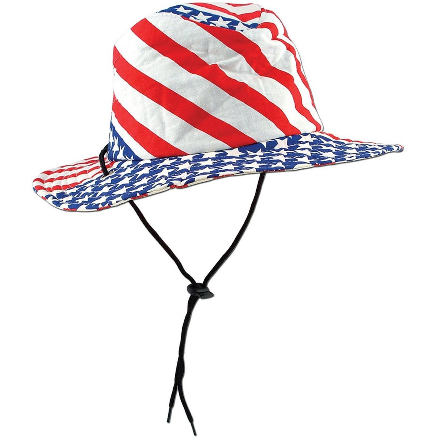 """Pack of 6 Red, White and Blue Stars and Stripes Patriotic Flag Party Hats 23.5"""""""