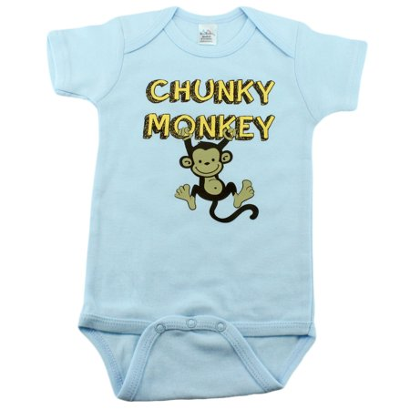 Nursery Decals and More Brand: Baby Boys Bodysuits with Monkey, 0-3 Month, Chunky Monkey - Monkey Onsie