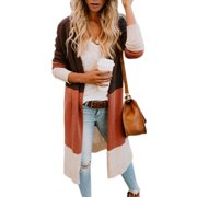 Women's Knitted Long Sleeve Cardigans Open Front Casual Boho Sweater