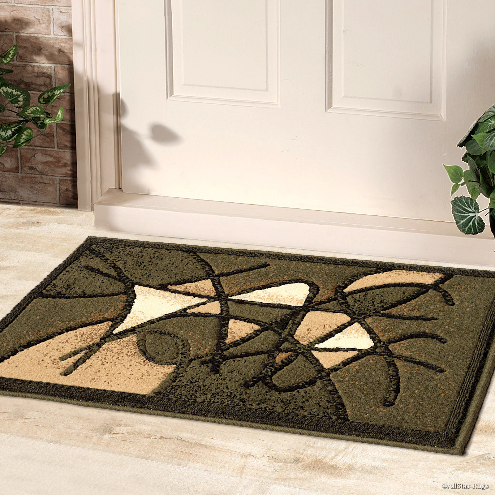 "Allstar Green Doormat Accent Rug Abstract Modern Area Carpet Rug (2' 0"" x 3' 3"") by"