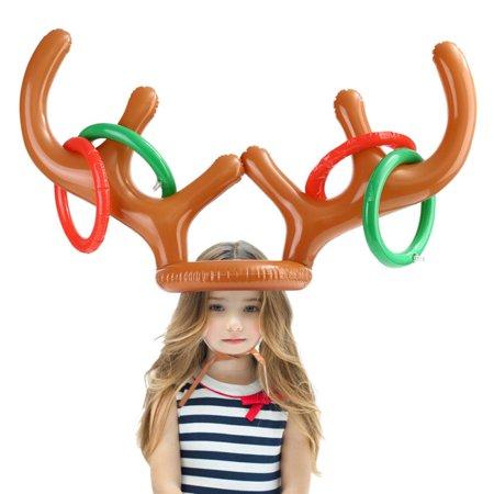 Christmas Inflatable Reindeer Antler Ring Toss Game Xmas Family Fun Xmas Toys ()