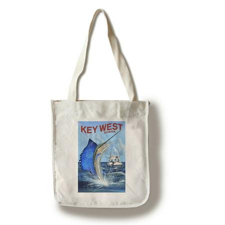Key West, Florida - Sailfish Deep Sea Fishing - Lantern Press Artwork (100% Cotton Tote Bag -