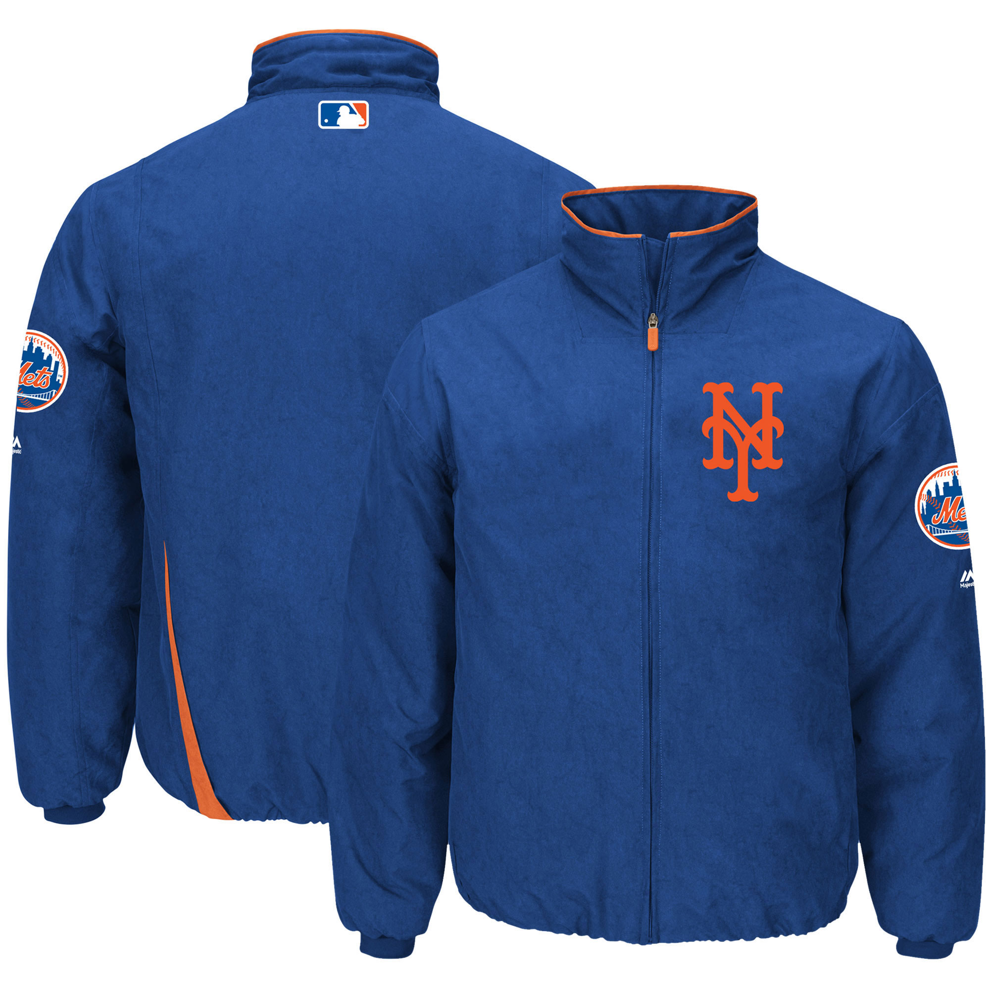 Men's Majestic Royal New York Mets On-Field Therma Base Thermal Full-Zip Jacket
