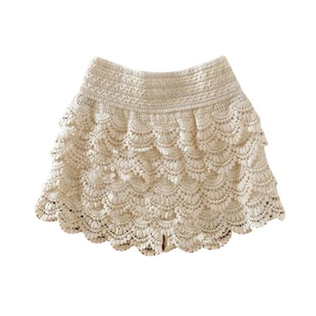 - Women Summer Elastic Waist Lace Crochet Slim Shorts