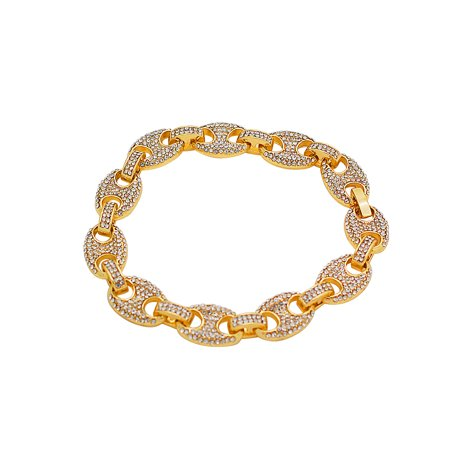14K Gold Plated Iced Out Hip Hop Bling Staggered Cubic Zirconia Puffed Gucci Bracelet