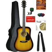 Fender Squier Dreadnought Acoustic Guitar - Sunburst Bundle with Gig Bag, Tuner, Strap, Strings, Picks, and Austin Bazaar Instructional DVD