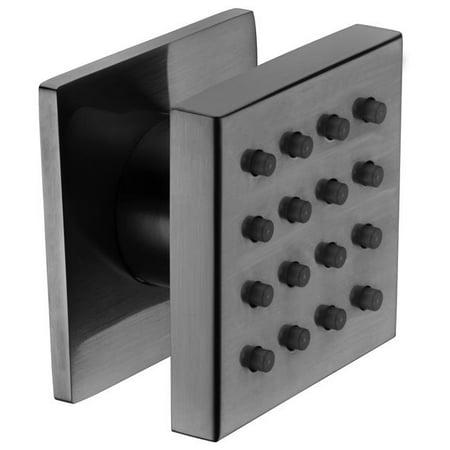 Brushed Nickel Modern Square Adjustable Shower Body Spray