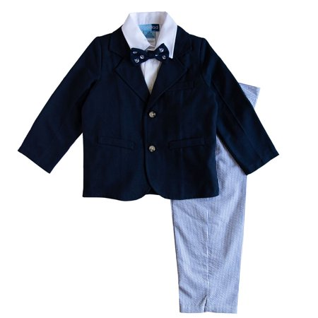 Good Lad Toddler thuru 4/7 Boys Navy Poly Rayon Jacket and Blue Seersucker Pant 4 Piece Suit (Boys Blue Seersucker)