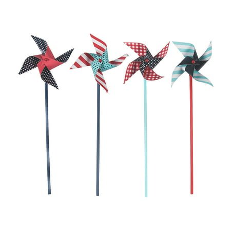 Fun Express - Red, White & Blue Pinwheels (3dz) for Fourth of July - Toys - Value Toys - Pinwheels - Fourth of July - 36 - 4th Of July Glow Products